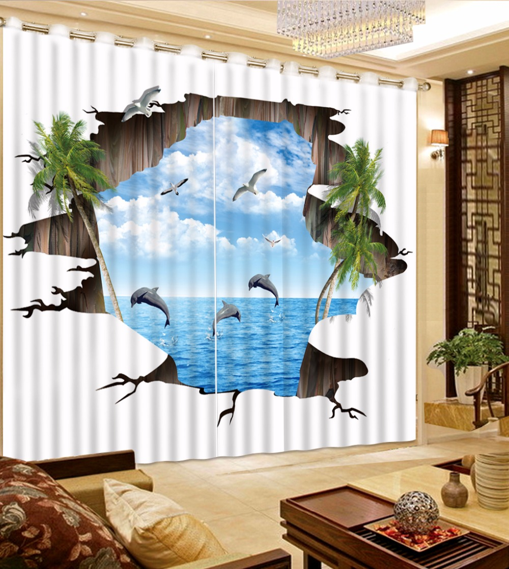 Customize 3d Curtains Underwater World White Clouds Blue Sky 3d Curtains  For Living Room Blackout Curtains