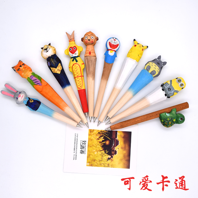 Wood craft pen classical hot selling wood animal pen hand carved wood pen creative stationery ballpoint pen 10pcs lot in Ballpoint Pens from Office School Supplies