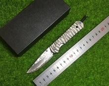 CR small EDC Sebenza 24 knife tools Damascus blade TC4 titanium allo CNC jing gong wavy lines outdoor camping hun