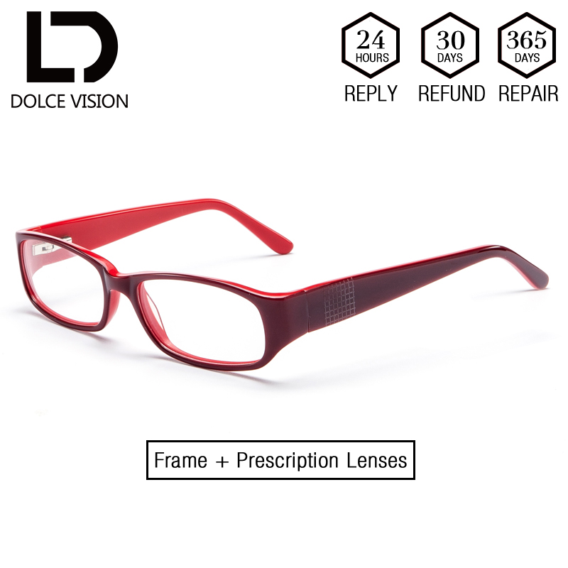 b6e9602d6bc DOLCE VISION Lady Fashion Myopia Glasses Women Astigmatism Eyeglasses  Prescription Lens Red Frame Diopter Spectacles New Design-in Prescription  Glasses from ...