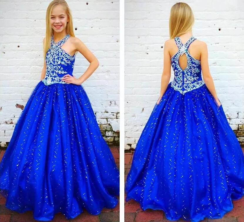 New Royal Blue Ball Gown Girls Dresses Beaded Sequins Girls Birthday Party Pageant Gown size 2-16