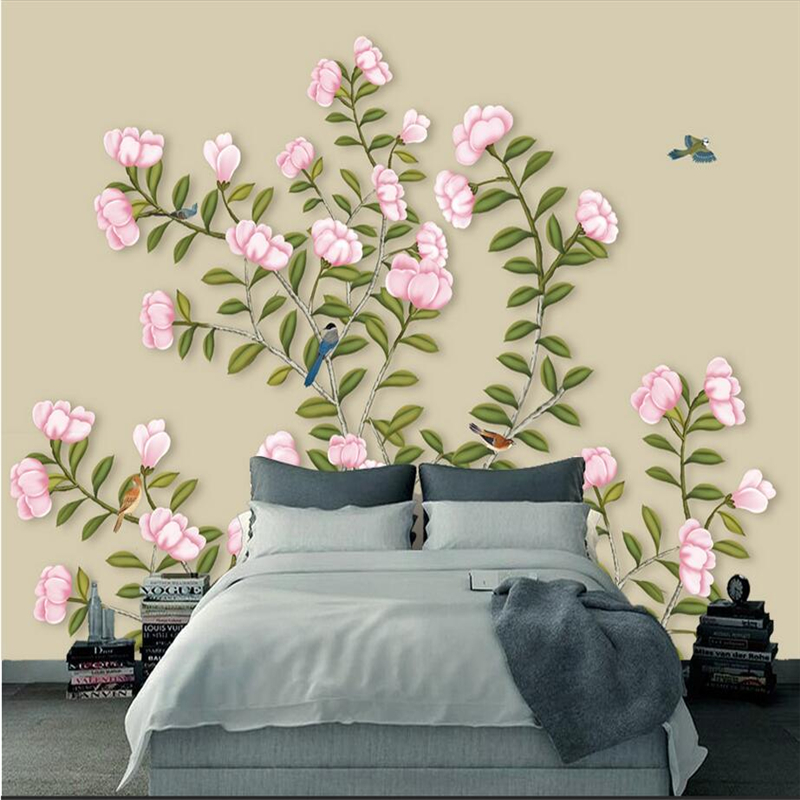 Wallpaper Birds Flowers Hand Painted Hd Photo Wall Mural Custom Photo Wall Murals Embossed Non-Woven Extra Thick TV Background