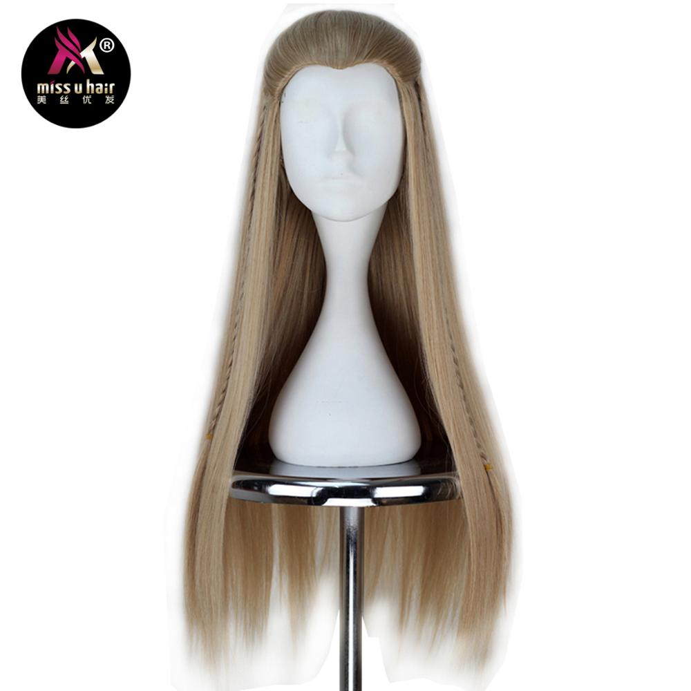 Hair Extensions & Wigs Synthetic Wigs Miss U Hair Synthetic 80cm Long Straight Men Hair Ash Blonde Color Unisex Halloween Movie Cosplay Costume Wig