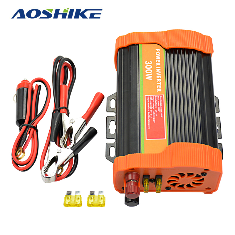 Aoshike 300W Solar Power Car Inverter board 12V DC To 110V AC Modified Sine Wave Inverter Converter solar power on grid tie mini 300w inverter with mppt funciton dc 10 8 30v input to ac output no extra shipping fee
