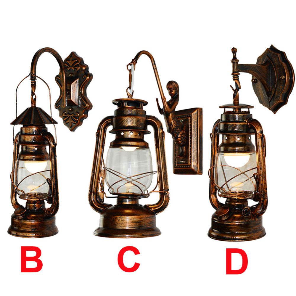 Vintage Lantern Wall Lamp Antique Copper Personalized Kerosene Lamp Fashion Iron Wall Lights Cafe Aisle Lights iron lantern