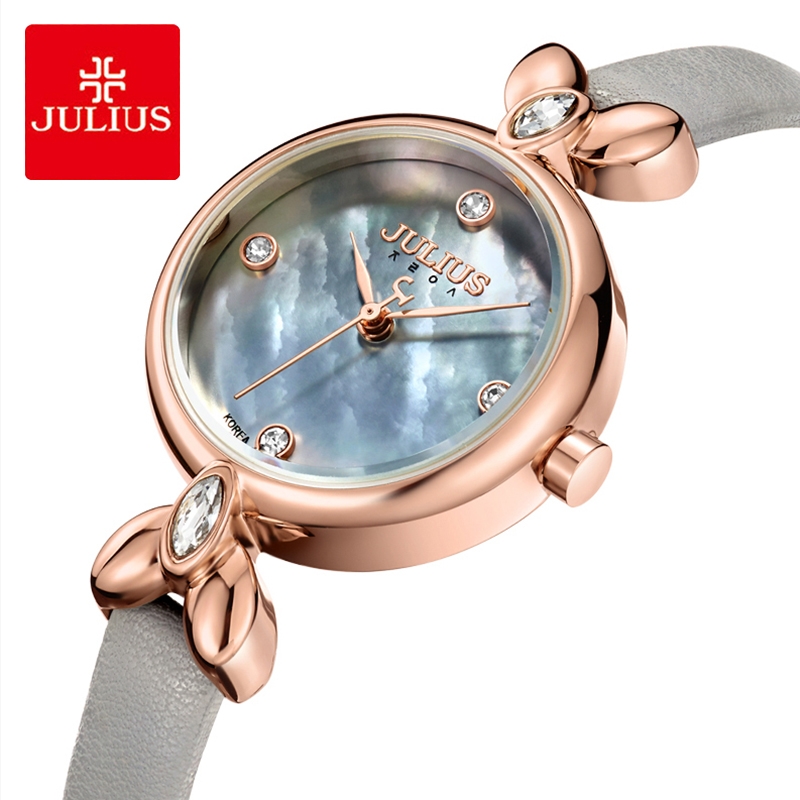 Julius Brand Lady Shell Dial Leather Watch Luxury Crystal Creativity Quartz Wrist Watches For Womans Casual Dress Reloj MujerJulius Brand Lady Shell Dial Leather Watch Luxury Crystal Creativity Quartz Wrist Watches For Womans Casual Dress Reloj Mujer