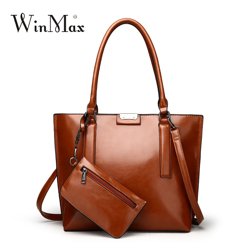 Women oil wax Leather Handbags big Bolsos Mujer De Marca Famosa Female shoulder bag 2 For Women simple Large Tote Bag with purse comics dc marvel wallets green arrow leather purse women money bags gift wallet carteira feminina bolsos mujer de marca famosa