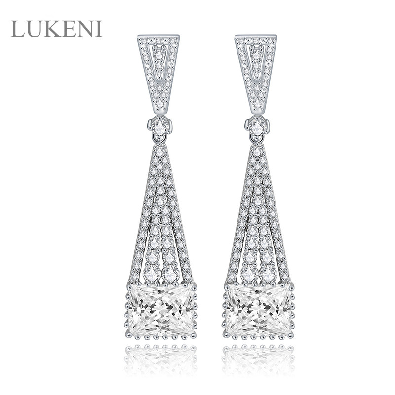 New Design Elegant White Color Inlay AAA Zircon Geometry Long Earrings For Gril To Gift Fashion South Korea JEWELRY