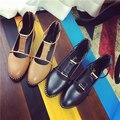 Высочайшее качество женской обуви Квартиры среднего пятки летом стиль бренда PU для женщин острым носом Т-ремень обуви женский