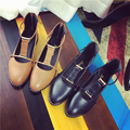 Top quality women's shoes Flats medium heel shoes summer style brand PU for women pointed toe T strap shoe female