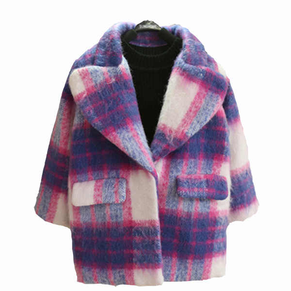 Girls' long coats  children's woolen coats thick