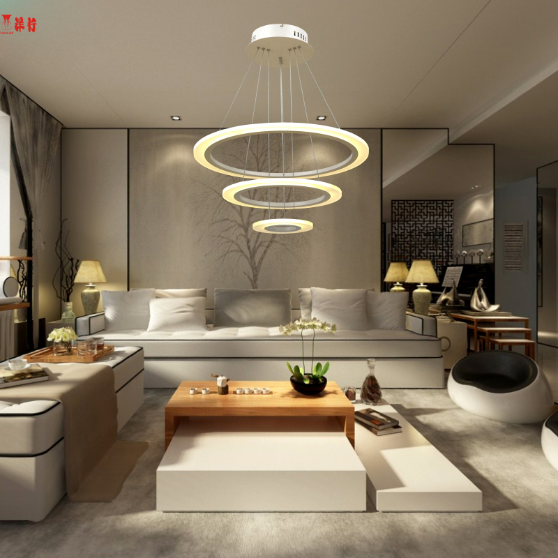Modern pendant lights for living room dining room 3/2/1 Circle Rings acrylic aluminum body LED Pendant Lamp fixtures modern led pendant lights for living room 3 2 1 circle rings acrylic aluminum body pendant lamp hanglamp lamparas colgantes