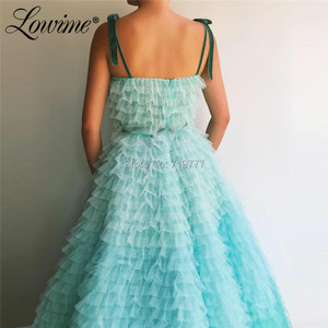 Image 2 - Amazing Summer Princess Party Dress 2019 Couture Tiered Tulle Multicolor Prom Dresses Beaded Abendkleider Arabic Evening Gowns