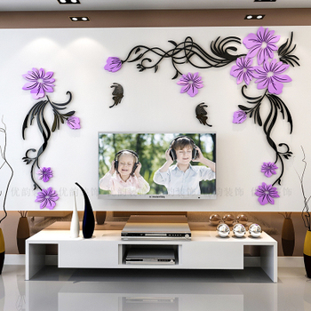 Creative flower 3D stereo acrylic wall sticker background warm decoration Large Size Mural Home Decor Living Room Wall Decals 15