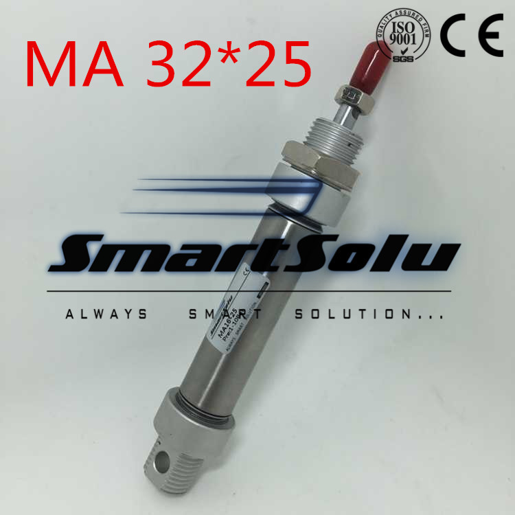 Free Shipping Stainless Steel MA 32-25 Mini Cylinder,1/8 Port 32mm Bore 25mm Stroke Double Acting 32x25 Pneumatic Cylinder ma 32 25 stainless steel mini cylinder ma series ma 32 25 stainless steel pneumatic air cylinder