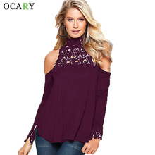 Elegant Lace Up Ladies Tops Turtleneck Women Shirts Off Shoulder Blouse Casual Camisa Loose Chemise Femme