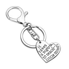 Letters It Takes A Big Heart To Teach Little Minds Key Chain Cute Keyring Fashion Teachers Day Gift Llavero Wholesale