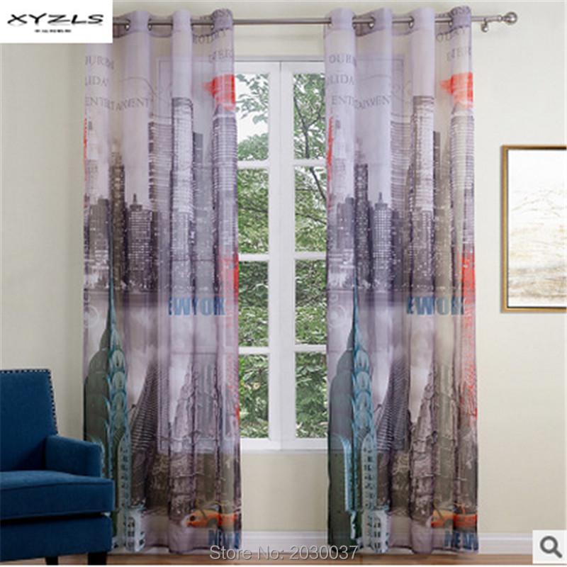 Xyzls 2017 new york city printed scenic curtains for for Curtains and drapes nyc