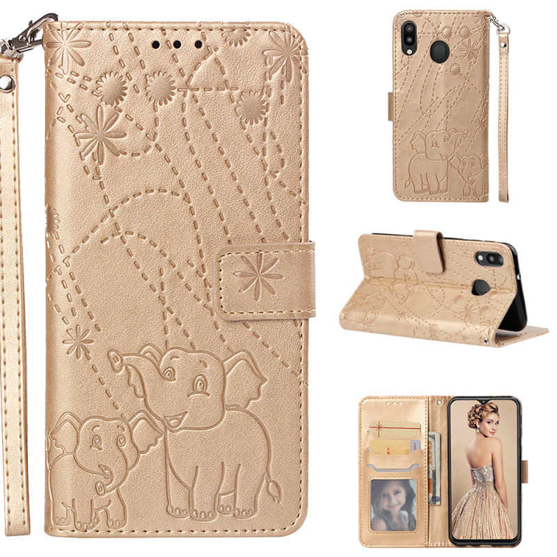 1pcs For Samsung Galaxy M10 M20 Stand Card Slots  Fireworks Elephant Book Style Leather Case For Samsung Galaxy J6 Plus J4 Plus