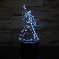 Cantor britânico freddie mercúrio 3d led night light lâmpada nightlight para escritório decoração de casa melhor estrela fãs presente dropshipping