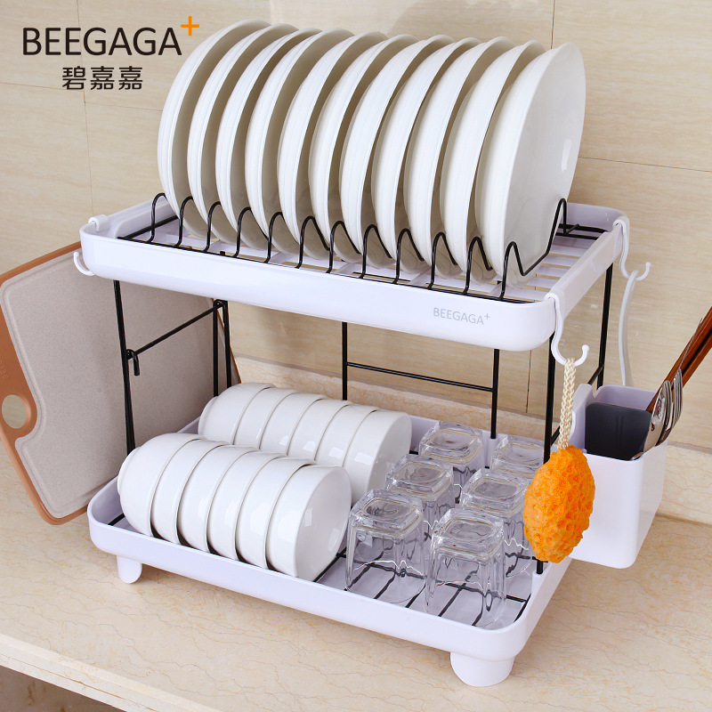 Double layer Hanging Dish Drainer Kitchen Accessories Organizer Dish Drying Rack 304 Stainless Steel Plate Storage
