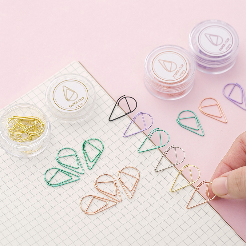 10 Pcs/box Creative Waterdrop Paper Clips Mini Metal Bookmarks Cute Kawaii Book Markers Korean Stationery Student Item