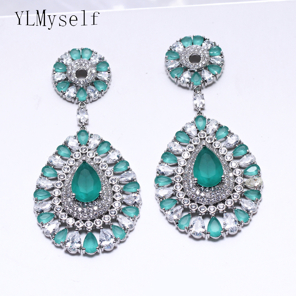 Beautiful big water drop earrings Green candy color stones jewelry large jewellery fashion earring