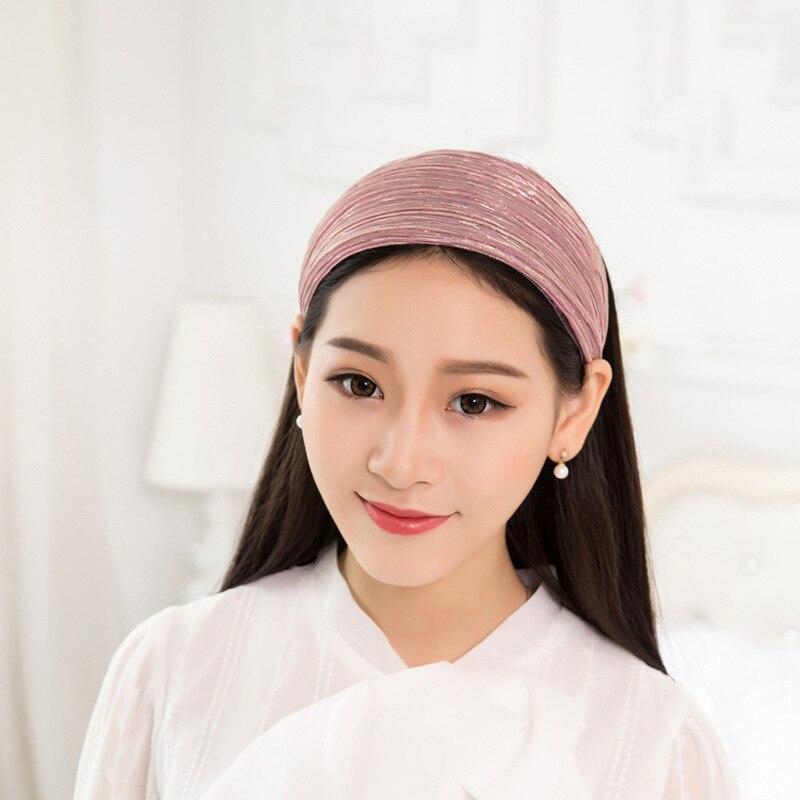Korean Wide Edge Hair Band Wide Cloth Korean Material Head Buckle Wrinkle Fabric Hair Band Hoop Headband 12Pcs Free Shipping