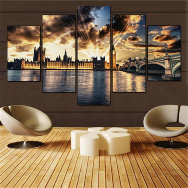 Canvas Painting Wall Art Picture 5 Panel Modern Printed London Cityscape Oil Bridge Cuadros on Canvas For Bed Room no frame