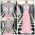Frisada Rosa Chiffon Longo Sexy Backless Prom Dress com Recorte Evening Formal Vestido robe de soiree abendkleider