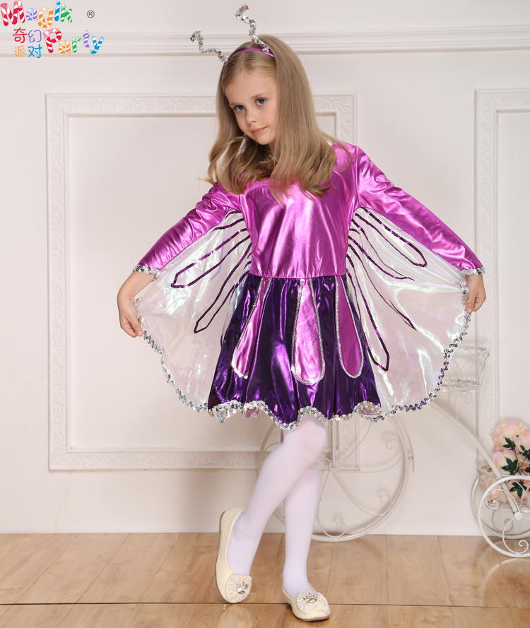 purple butterfly dress with hair decoation halloween costumes for children girls costume fairy party flower girl princess