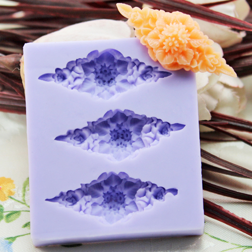 New 2017 3 hole rhombus flower Arylic Resin silicone mold,clay molds,sugar craft tools,chocolate mould, molds for cakes