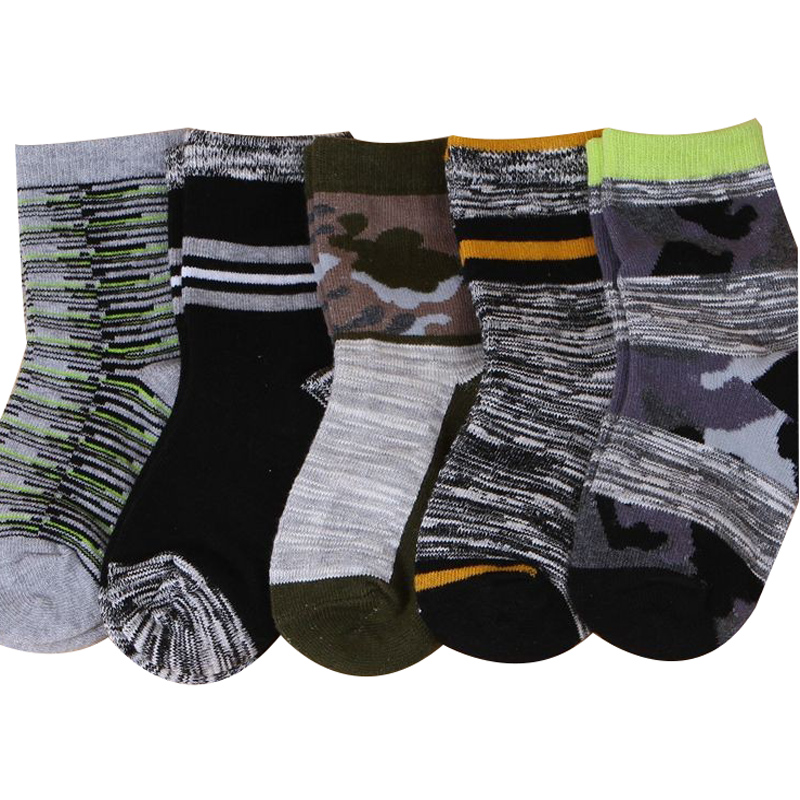 5 Pairs Autumn Winter Children Socks Cotton High Quality Thick Camouflage Student Baby Boys Girls Socks 1-10 Year Kids Socks