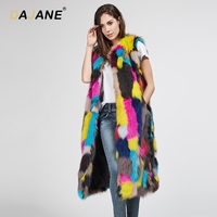 DAJANE Autumn And Winter New Fox Fur Grass Vest Female Long Section Colorful Thin Vest Fox Fur Grass Coat Female Real Fur Coat