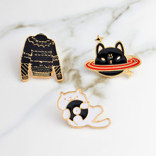 Black sweater CD white cat Space black cat Cartoon pins Brooches Badges Hard enamel pins Brooch Cat jewelry Cute gifts for girls(China)
