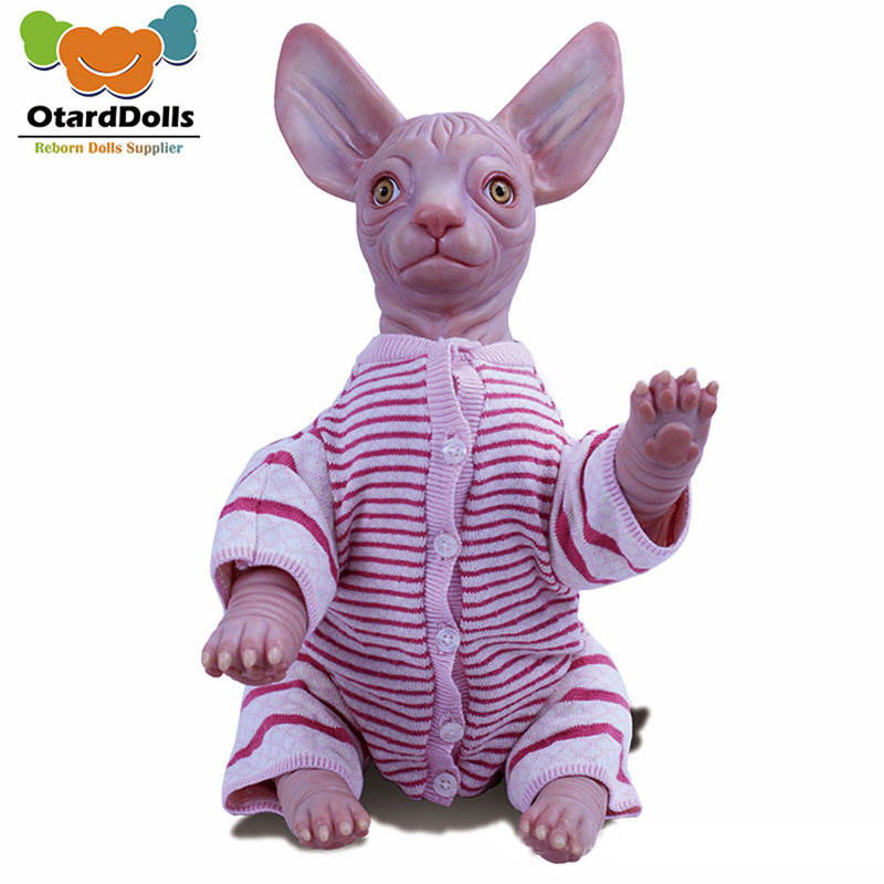 19 Inch Hairless Cat Simulation Decorative Toy Creative Pets Toys Kids Christmas Birthday Gift
