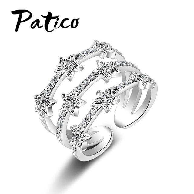 PATICO Real S90 Silver Rings Romantic Twinkling Cubic Zirconia Crystal Zircon St