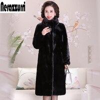 Nerazzurri mink fur coat women stand collar long sleeve black Full Pelt mink coats natural fur overcoat plus size 5xl 6xl 7xl