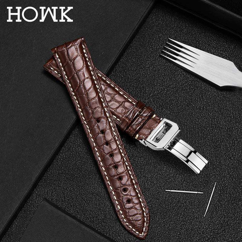HOWK Watchband 18mm 19mm 20mm 21mm 22mm 23mm 24mm  Real Leather Watch Band Alligator Round Pattern Watch Strap