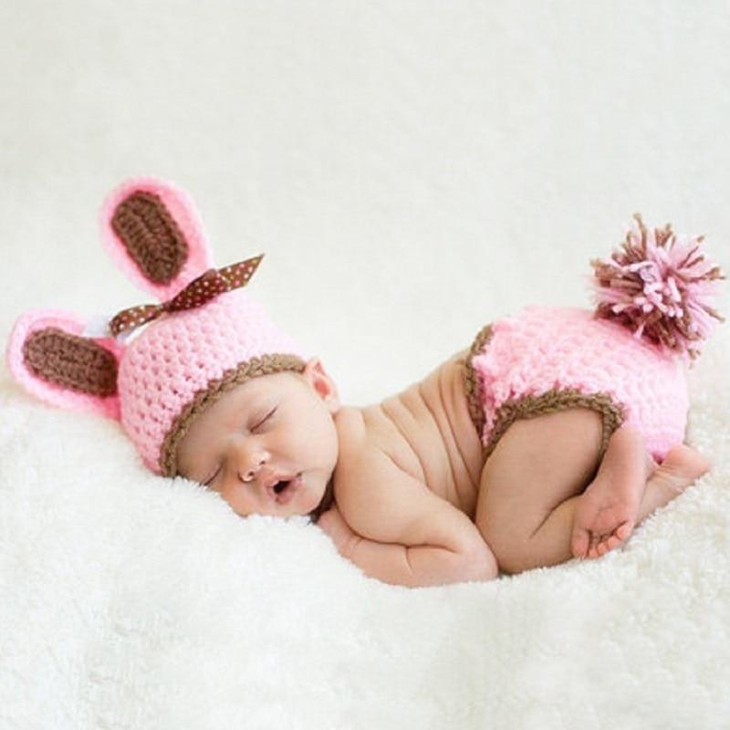 ᐂBebé recién nacido ganchillo conejo Rosa props ropa del bebé ...