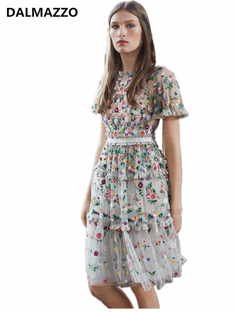 450b0383675 Dropshipping 2019 Newest Women High-end Brand Designer Mesh Floral  Embroidery Dresses Short Sleeve Patchwork