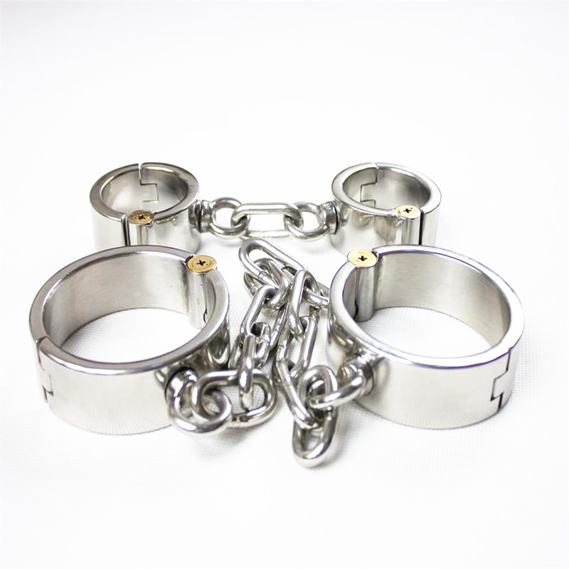 Height 3cm 2in1 Stainless Steel <font><b>Sex</b></font> Handcuffs Shackles Metal Hand Leg Cuffs Locked Bondage Restraints Erotic <font><b>Toy</b></font> for Couples G18 image
