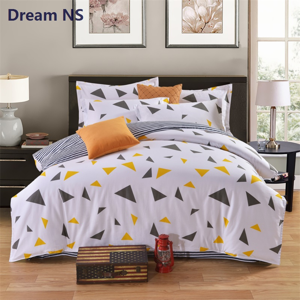 Ahsnme Pure Cotton Duvet Cover Sets Yellow Triangles Stripes