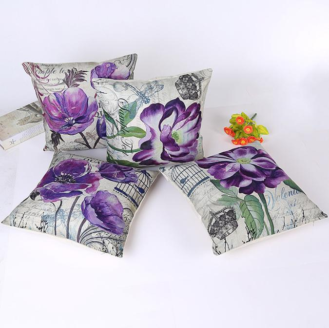 Ouneed Purple Floral Linen Throw Pillow Case Decorative Pillows For Sofa Car Seat Cushion Cover 45x45cm Pillowcase Home Decor