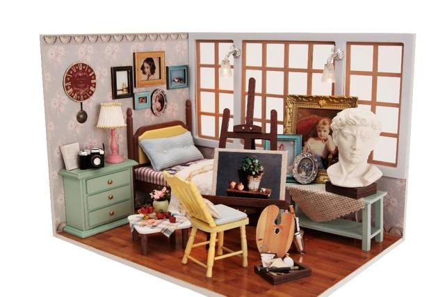 Modelo Puzzle Brinquedo Diy Móveis Casa de Bonecas De Madeira Em Miniatura Miniatura casa de Bonecas Artesanais Presente de Aniversário Criativo-luz do sol Doce