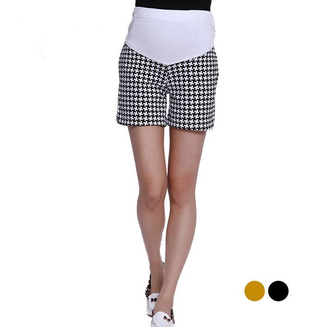 Patrón de tela escocesa ocasional mujeres maternidad pantalones cortos pantalones para el verano embarazada