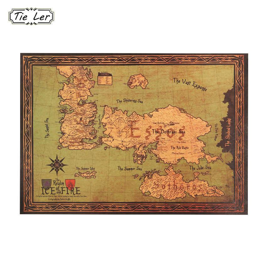 왕좌의 게임 세계지도 유명한 tv 시리즈 빈티지 크래프트 종이 포스터 거실 페인트 바 카페 벽 스티커