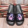 2016 Nueva Llegada de Los Hombres de Cuero Genuino Zapatillas de Casa Zapatillas de Casa Zapatos Al Aire Libre Perro ROTTWEILER Animales Zapatilla Zapatilla De Moda-s