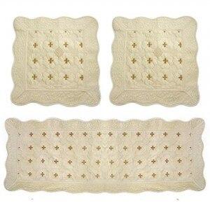 Natural quality embroidery super soft mianduanrong sofa cushion car seat three piece set - ivory
