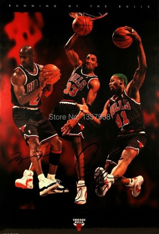 Nba Running Of The Bulls Michael Jordan Poster Home Decor